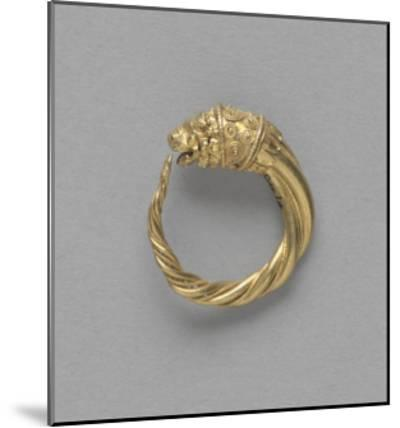Pair of Earrings, Ring Terminated by a Gold Lion Head--Mounted Giclee Print