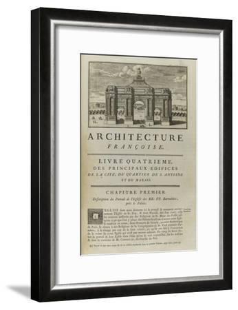 Page  99 : page de titre du Livre Quatrième . Vue de l'arc de triomphe en l'honneur de Louis XIV-Pate-Framed Giclee Print