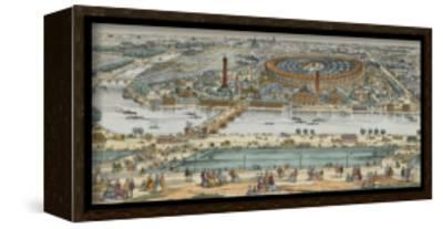 Vue générale de Paris et de l'expostion universelle de 1867, prise des hauteurs du Trocadéro--Framed Stretched Canvas Print