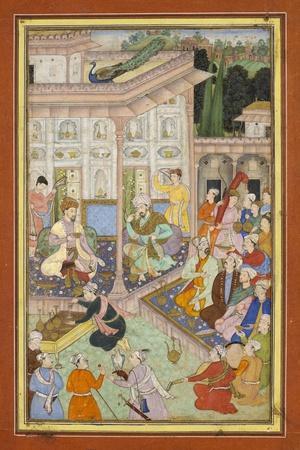Page d'un manuscrit dispersé du Babur-nâme--Stretched Canvas Print