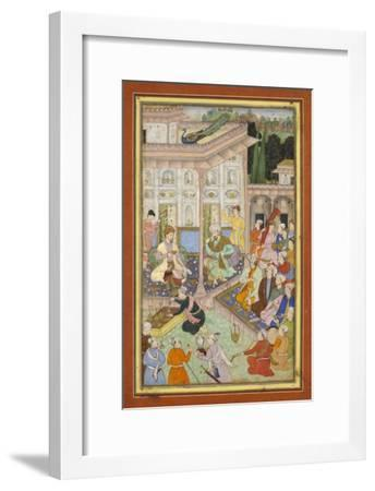 Page d'un manuscrit dispersé du Babur-nâme--Framed Giclee Print