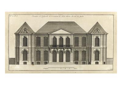 Planche 14 : Elévation de la façade du côté du jardin de l'hôtel de la duchesse du Maine-Jacques-Fran?ois Blondel-Framed Giclee Print