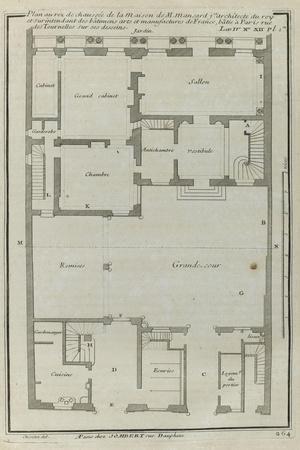 Planche 264 :  Plan au re-de-chaussée de la maison de Jules Hardouin-Mansart bâtie sur ses dessins-Jacques-Fran?ois Blondel-Stretched Canvas Print