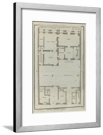 Planche 264 :  Plan au re-de-chaussée de la maison de Jules Hardouin-Mansart bâtie sur ses dessins-Jacques-Fran?ois Blondel-Framed Giclee Print