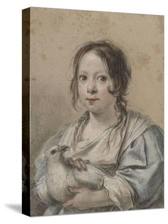 Portrait d'Angélique Vouet vers cinq ans tenant une colombe-Simon Vouet-Stretched Canvas Print