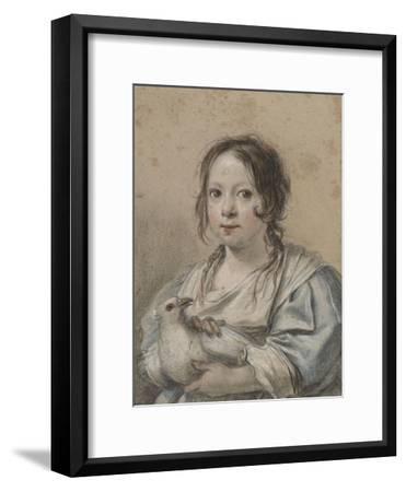 Portrait d'Angélique Vouet vers cinq ans tenant une colombe-Simon Vouet-Framed Giclee Print
