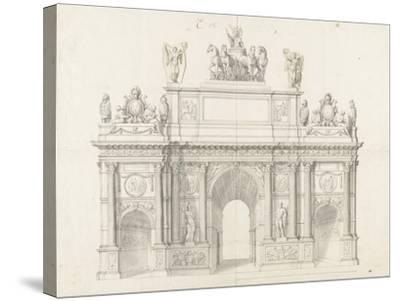 Projet pour l'arc de triomphe de la rue Saint-Antoine à Paris-Charles Le Brun-Stretched Canvas Print