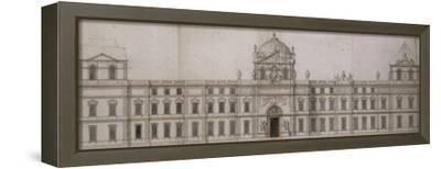 Projet pour la façade orientale du Louvre-Charles Le Brun-Framed Stretched Canvas Print