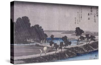 Pluie du soir au sanctuaire d'Azuma-Ando Hiroshige-Stretched Canvas Print