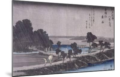 Pluie du soir au sanctuaire d'Azuma-Ando Hiroshige-Mounted Giclee Print