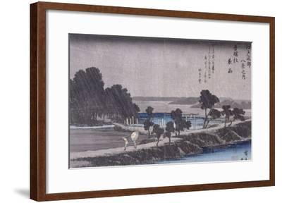 Pluie du soir au sanctuaire d'Azuma-Ando Hiroshige-Framed Giclee Print