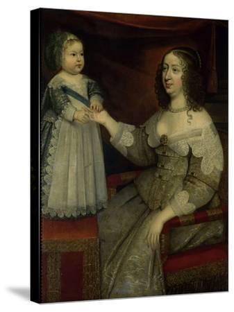 La reine Anne d'Autriche avec Louis XIV enfant alors Dauphin (avant 1643)--Stretched Canvas Print
