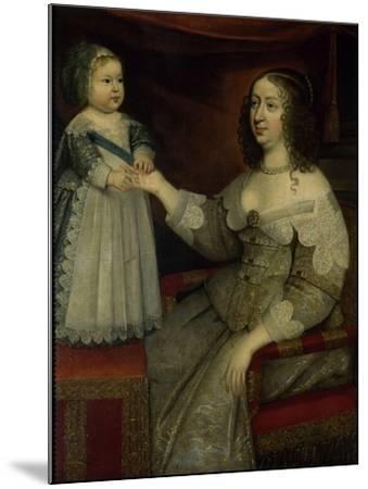 La reine Anne d'Autriche avec Louis XIV enfant alors Dauphin (avant 1643)--Mounted Giclee Print