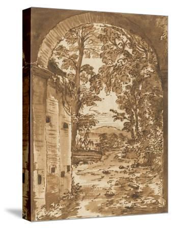 Ruines et paysage vus à travers un arc-Nicolas Poussin-Stretched Canvas Print