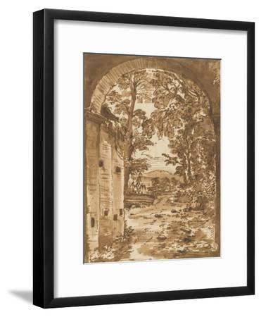 Ruines et paysage vus à travers un arc-Nicolas Poussin-Framed Giclee Print