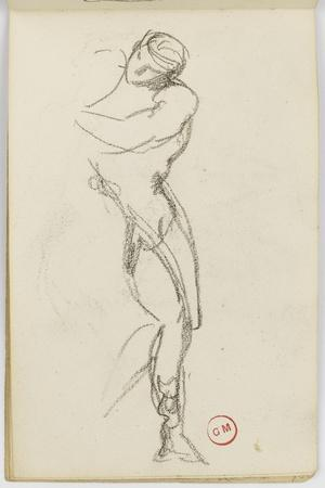 Sketchbook: Study of Man Standing for Darius Fleeing-Gustave Moreau-Stretched Canvas Print