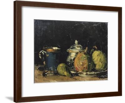 Nature morte : sucrier, poires et tasse bleue-Paul C?zanne-Framed Giclee Print