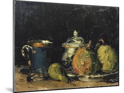 Nature morte : sucrier, poires et tasse bleue-Paul C?zanne-Mounted Giclee Print