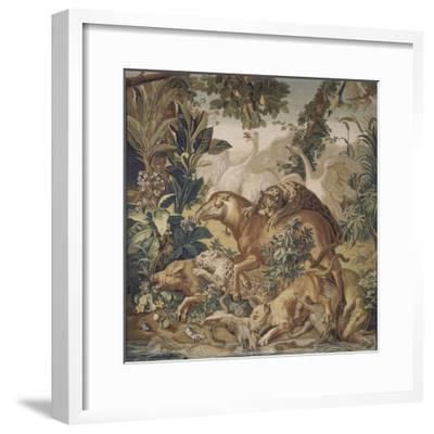 Tapisserie de la Suite des Indes : le Combat d'animaux.--Framed Giclee Print