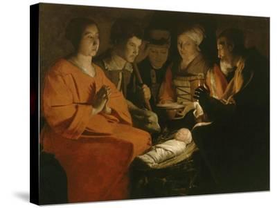 L'Adoration des bergers-Georges de La Tour-Stretched Canvas Print