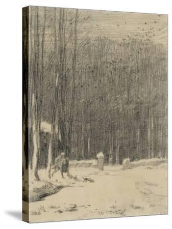 L'entr�de la for�de Barbizon; effet de neige-Jean-Fran?ois Millet-Stretched Canvas Print