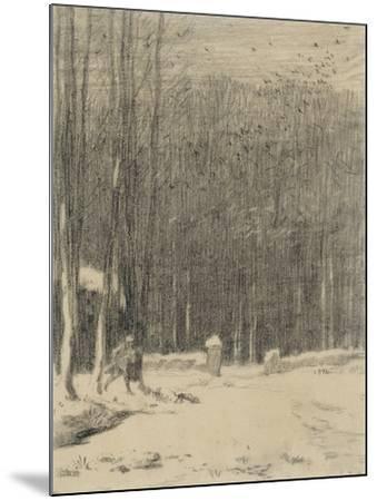 L'entr�de la for�de Barbizon; effet de neige-Jean-Fran?ois Millet-Mounted Giclee Print