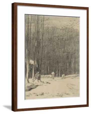 L'entr�de la for�de Barbizon; effet de neige-Jean-Fran?ois Millet-Framed Giclee Print