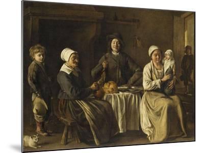 La Famille heureuse ou le retour du baptême-Louis Le Nain-Mounted Giclee Print
