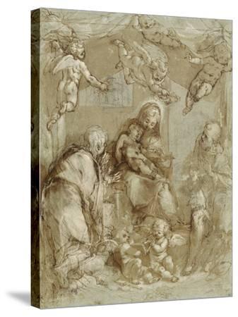 La Sainte Famille servie par les anges-Federico Barocci-Stretched Canvas Print