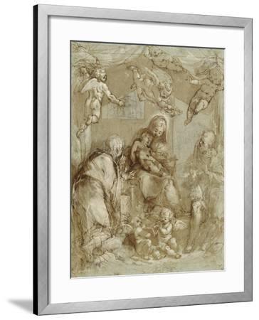 La Sainte Famille servie par les anges-Federico Barocci-Framed Giclee Print