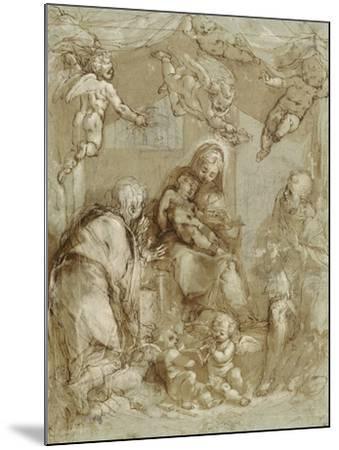 La Sainte Famille servie par les anges-Federico Barocci-Mounted Giclee Print