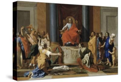 Le jugement de Salomon-Nicolas Poussin-Stretched Canvas Print