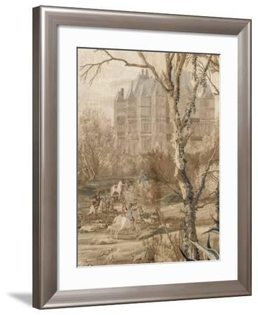 Les Maisons royales. Une entrefenêtre de la tenture. Une chasse en vue du château de Madrid-Charles Le Brun-Framed Giclee Print
