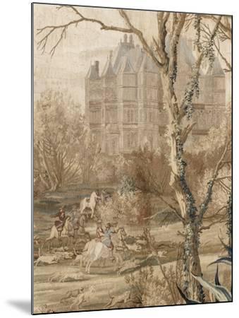 Les Maisons royales. Une entrefenêtre de la tenture. Une chasse en vue du château de Madrid-Charles Le Brun-Mounted Giclee Print