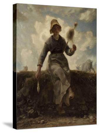 La Fileuse, chevri� auvergnate-Jean-Fran?ois Millet-Stretched Canvas Print