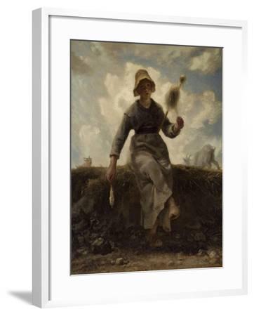 La Fileuse, chevri� auvergnate-Jean-Fran?ois Millet-Framed Giclee Print