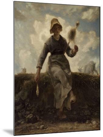 La Fileuse, chevri� auvergnate-Jean-Fran?ois Millet-Mounted Giclee Print