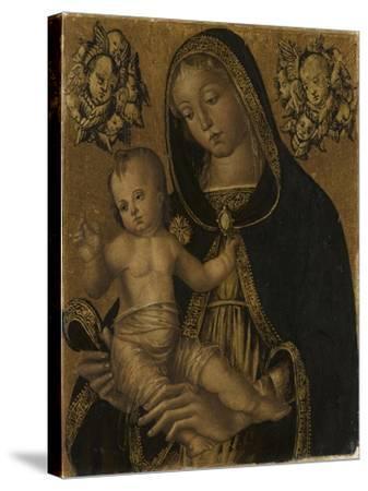 La Vierge et l'Enfant, avec deux chérubins--Stretched Canvas Print