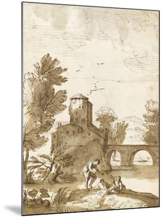 Trois baigneurs dans un paysage, avec un bâtiment près d'un pont-Giovanni Francesco Grimaldi-Mounted Giclee Print