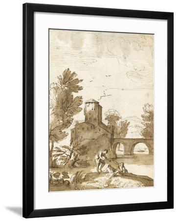 Trois baigneurs dans un paysage, avec un bâtiment près d'un pont-Giovanni Francesco Grimaldi-Framed Giclee Print