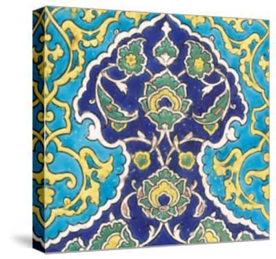 Carreau à frise de lambrequins bleu et turquoise imbriqués--Stretched Canvas Print