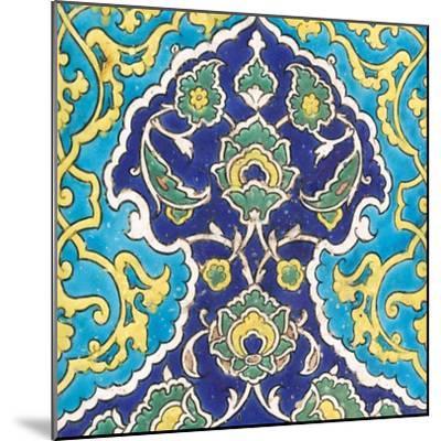 Carreau à frise de lambrequins bleu et turquoise imbriqués--Mounted Giclee Print