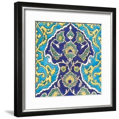 Carreau à frise de lambrequins bleu et turquoise imbriqués--Framed Giclee Print