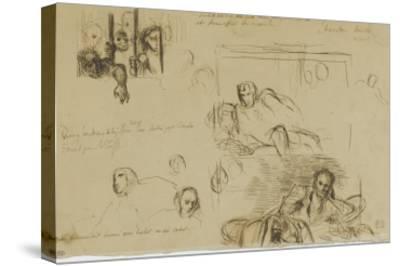 Deux études pour le Tasse à demi-étendu et des fous derrière les barreaux-Eugene Delacroix-Stretched Canvas Print