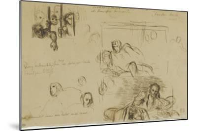Deux études pour le Tasse à demi-étendu et des fous derrière les barreaux-Eugene Delacroix-Mounted Giclee Print