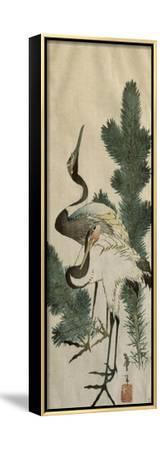 Deux hérons-Katsushika Hokusai-Framed Stretched Canvas Print