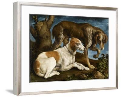 Deux chiens de chasse attachés à une souche-Jacopo Bassano-Framed Giclee Print