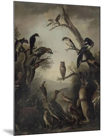 Deux lièvres parmi une grande quantité d'oiseaux.-Nicasius Bernaerts-Mounted Giclee Print
