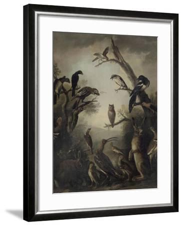 Deux lièvres parmi une grande quantité d'oiseaux.-Nicasius Bernaerts-Framed Giclee Print