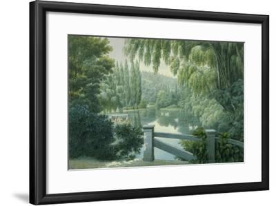 Vue de Malmaison : promenade des dames d'honneur sur la rivière.-Auguste Garneray-Framed Giclee Print